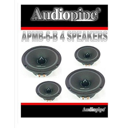 (4) audiopipe apmb-6 6.5 6 car audio loud speaker pair low mid range