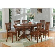 East West VT-ESP-TP Vancouver Oval Double Pedestal dining room Table with 17 inch Butterfly Leaf, Espresso
