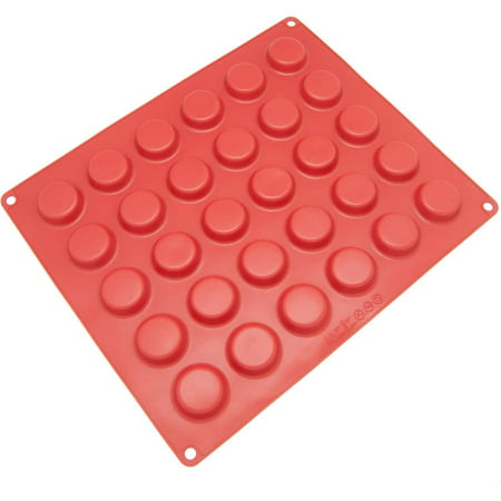 Freshware 30-Cavity Silicone Mold for Round Chocolate, Candy, Cookie and Gummy,