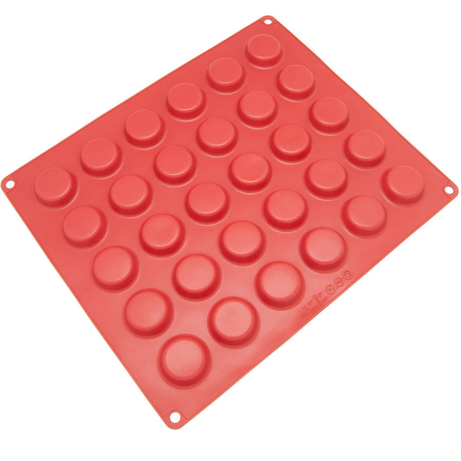 Freshware 30-Cavity Silicone Mold for Round Chocolate, Candy, Cookie and Gummy, CB-116RD