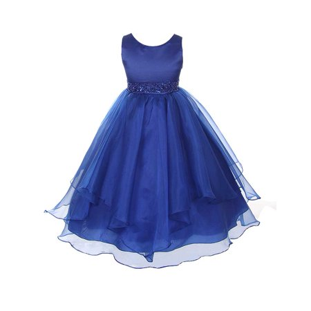 Chic Baby Blue Layered Beaded Flower Girl Christmas Dress Girls 4-12 - Blue Girls Dress