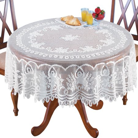 Crochet Lace Floral Tablecloth for Dining Room Accent or Layering Linens, 70