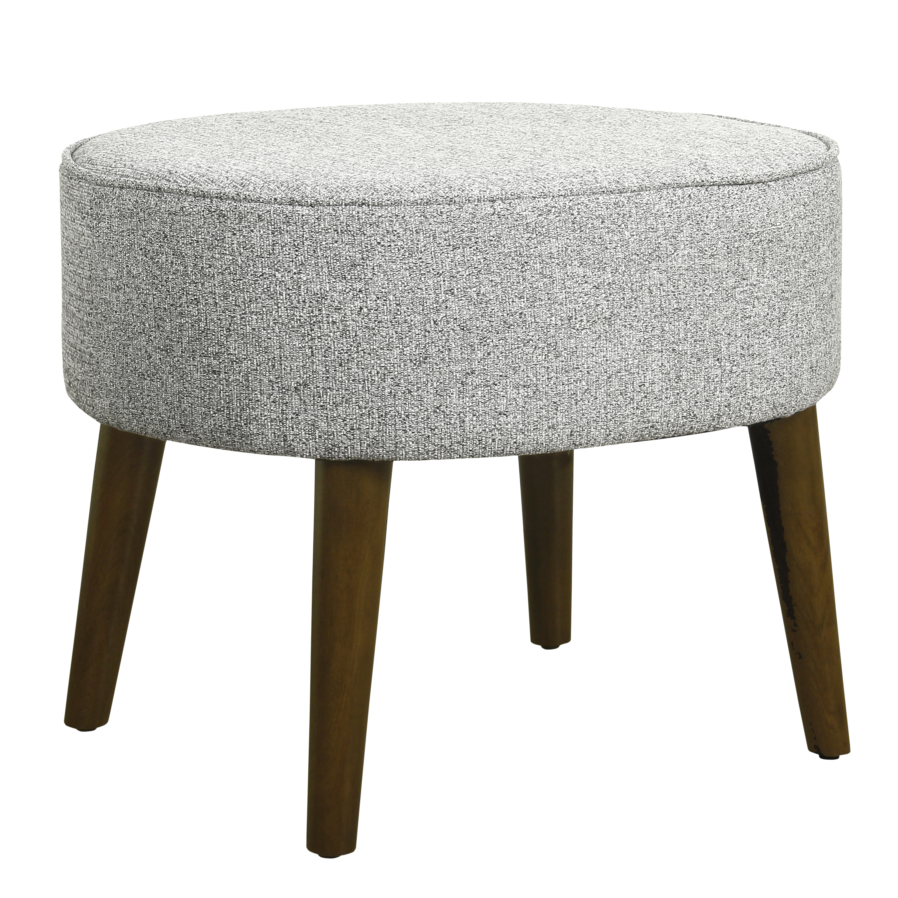 HomePop Decorative Oval Ottoman with Wood Legs, Ash Gray