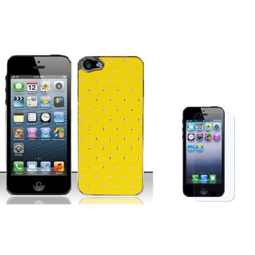 Insten Hard Rubber Chrome Cover Case w/Diamond + Screen Protector For Apple iPhone SE 5/5S - Yellow