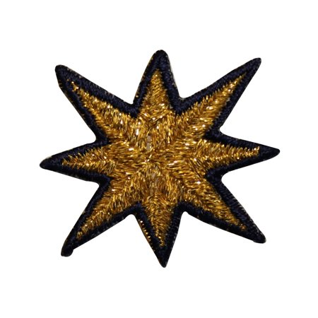 ID 3533 8 Point Star Burst Patch Night Sky Shinning Embroidered Iron On - 8 Point Star