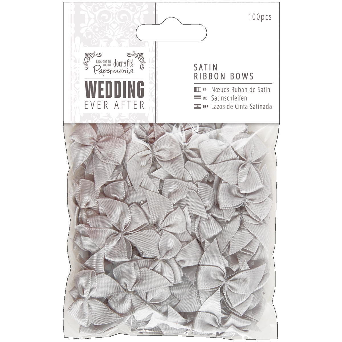 Docrafts Papermania Ever After Wedding Ribbon Bows 27mm 100//pkg-silver Satin,