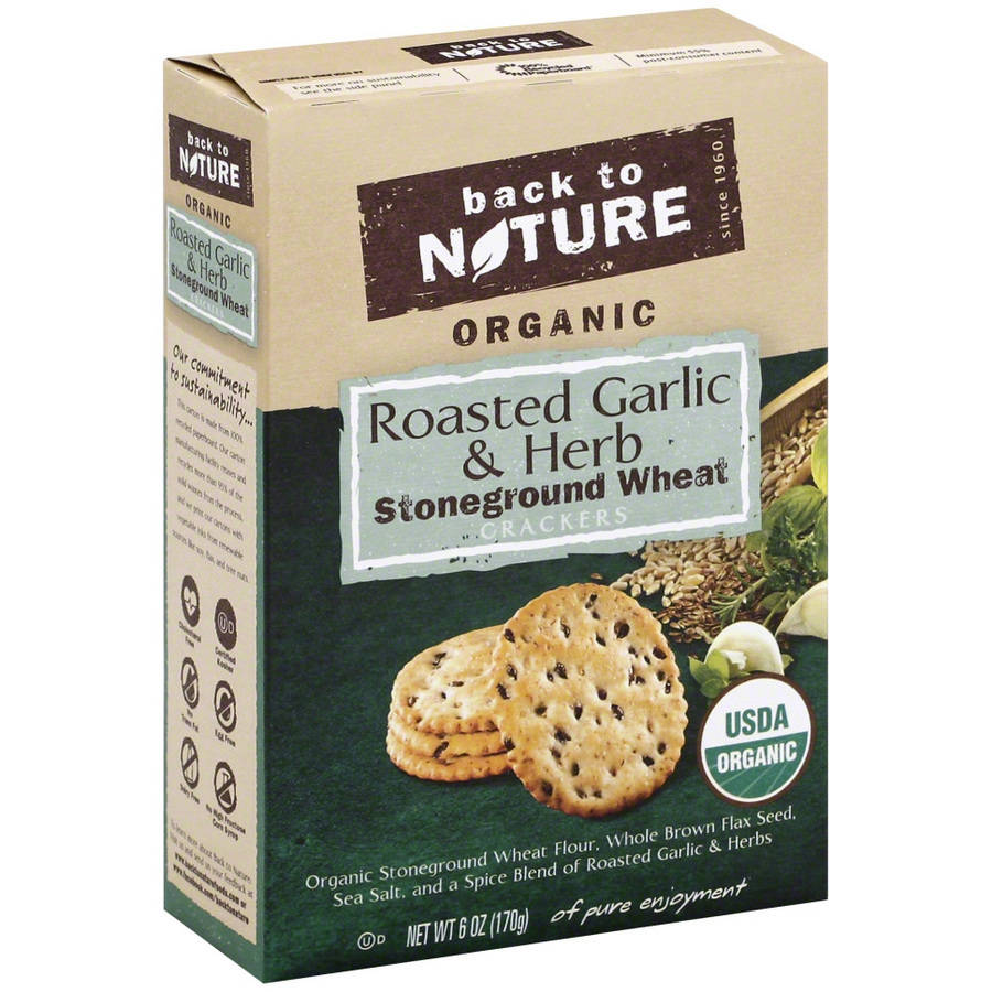 Back To Nature Roasted Garlic & Herb Crackers, 6 oz, (Pack of 6)