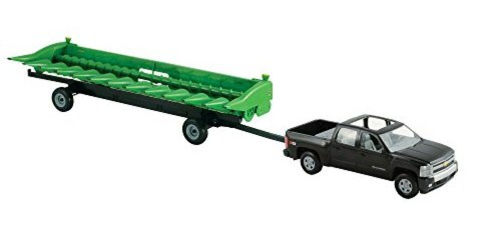 TOMY John Deere Big Farm 1:16 Chevy Pickup with John Deere 512C Corn Head and Header Cart by TOMY