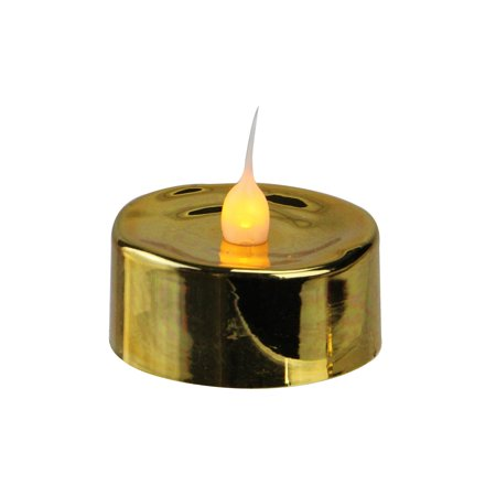 Gold Christmas Candle - 3 LED Lighted Battery Operated Flicker Flame Gold Christmas Tea Light Candles
