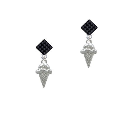 Ice Cream Cone Black Crystal Diamond-Shape Earrings ()