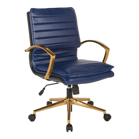 Navy Faux Leather - Mid-Back Faux Leather Chair with Gold Finish in Navy Faux Leather