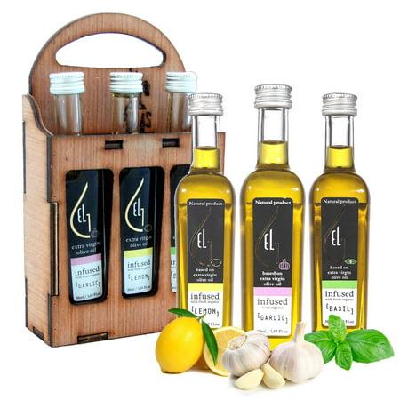 Pellas Nature | Fresh Organically Infused Extra Virgin Olive Oil | Garlic - Lemon - Basil | Wooden Gift Set | French Glass Bottles | 3 x 50ml Garlic-Lemon-Basil