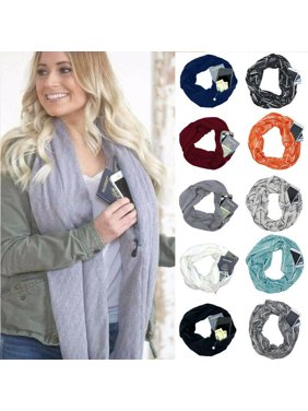 1pc Convertible Infinity Scarf With Pocket Loop Scarf Women Winter Zipper Pocket