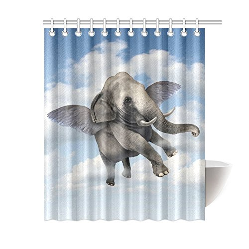 GCKG Fantasy Animal Angel Elephant Polyester Fabric Shower