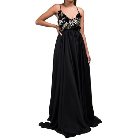 AKIRA Women's Sequin Bodice Skinny Straps Sexy Cross Open Back Special  Occasion Gown Maxi Dress