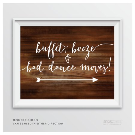 Buffet, Booze, Bad Dance Moves Rustic Wood Wedding Party Directional Signs, Double-Sided (Wedding Directional Signs)