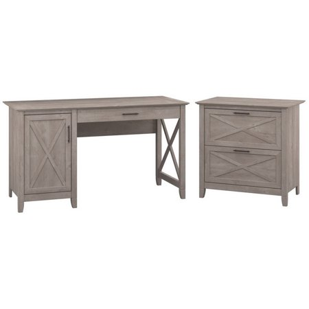 Bush Key West 2 Piece Office Set in Washed Gray