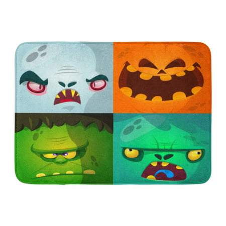 GODPOK Blue Halloween Cartoon Monster Faces Cute Avatars and Pumpkin Vampire Dracula Zombie Green Character Rug Doormat Bath Mat 23.6x15.7 inch](Monster High Halloween Pumpkin Stencils)