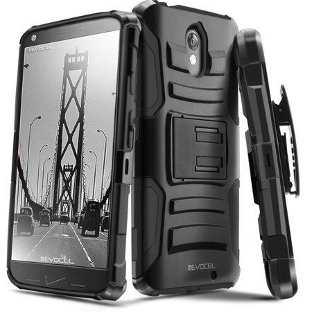 DROID Turbo 2 Case, Evocel® Rugged Holster Dual Layer Case [Kickstand] [Belt Swivel Clip] HD Screen Protector For Motorola DROID Turbo 2 (XT1585/ 2015 Release), Black (EVO-MOTXT1585-AB201) (Phone Pouch For Droid Turbo)