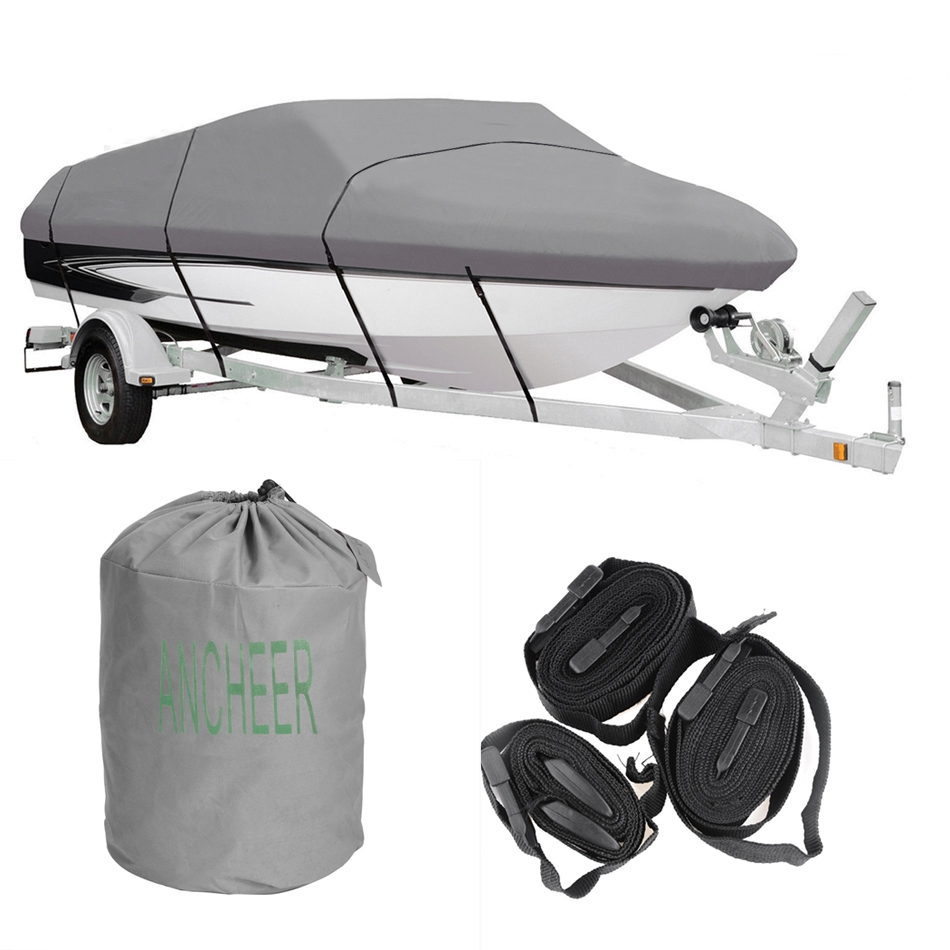 Ancheer Gray Waterproof Heavy Boat Cover 17 - 19 ft Ship with Carrying Bag