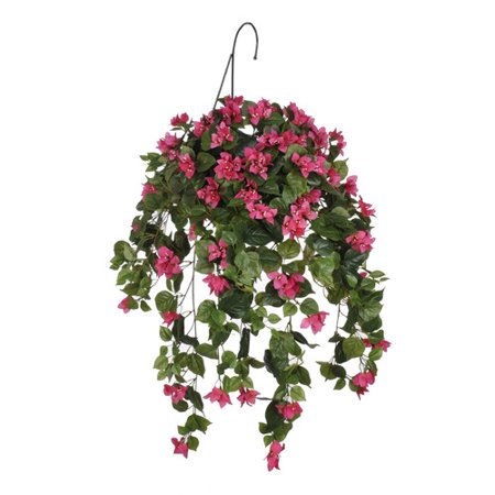 House of Silk Flowers Inc. Artificial Bougainvillea Hanging Plant in Basket