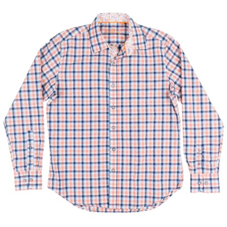 b30c65071 JUSTING - Checkered Button Down Long Sleeve Woven Justing Collared Shirt  Mens Blue - Walmart.com