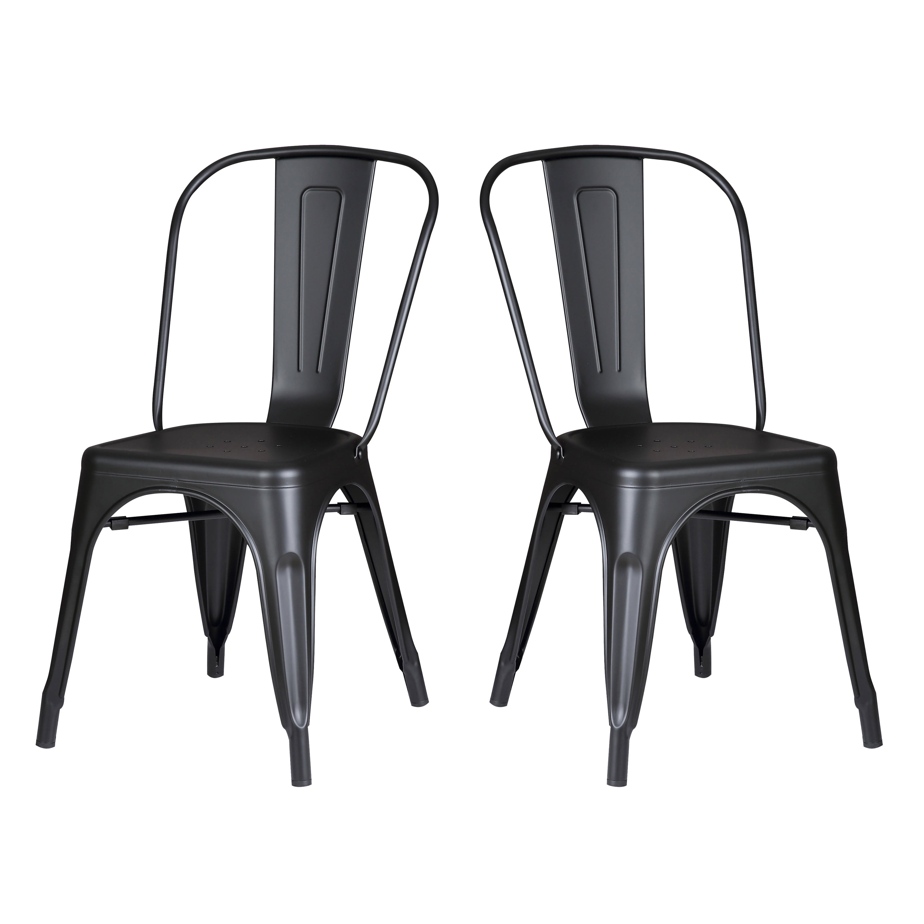 Modern Matte Black Metal Dining Room Kitchen Bar Chair 18 Inch Seat Height Set Of 2