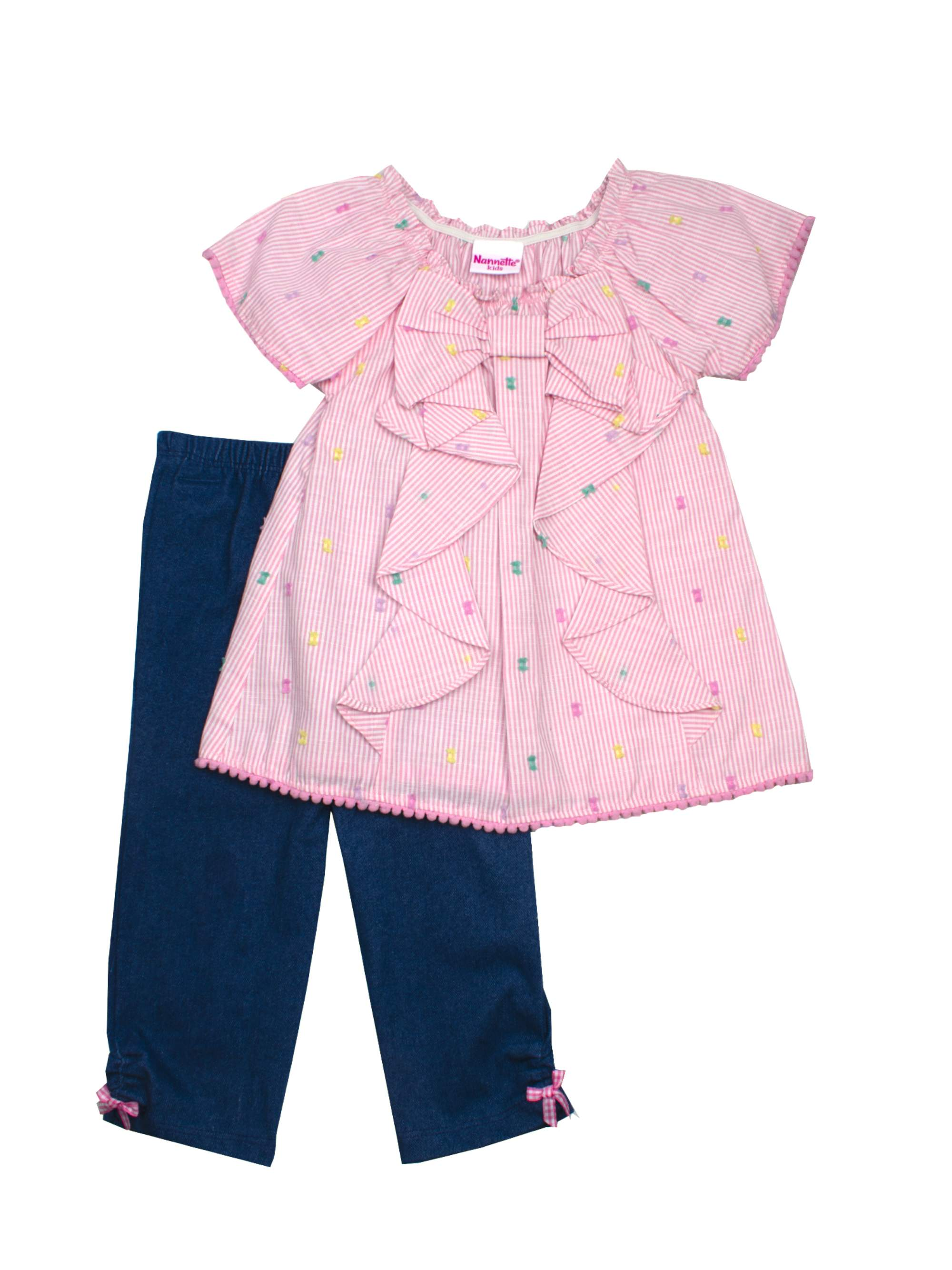 Embroidered Woven Stripe Top and Capri Legging, 2-Piece Outfit Set (Little Girls)