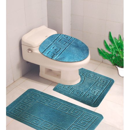 Elongated Toilet Lid Covers (#10 Turquoise 3-Piece Embossed Bathroom Mat Set, Solid Large Rug 19