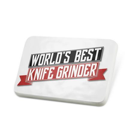 Porcelein Pin Worlds Best Knife Grinder Lapel Badge –