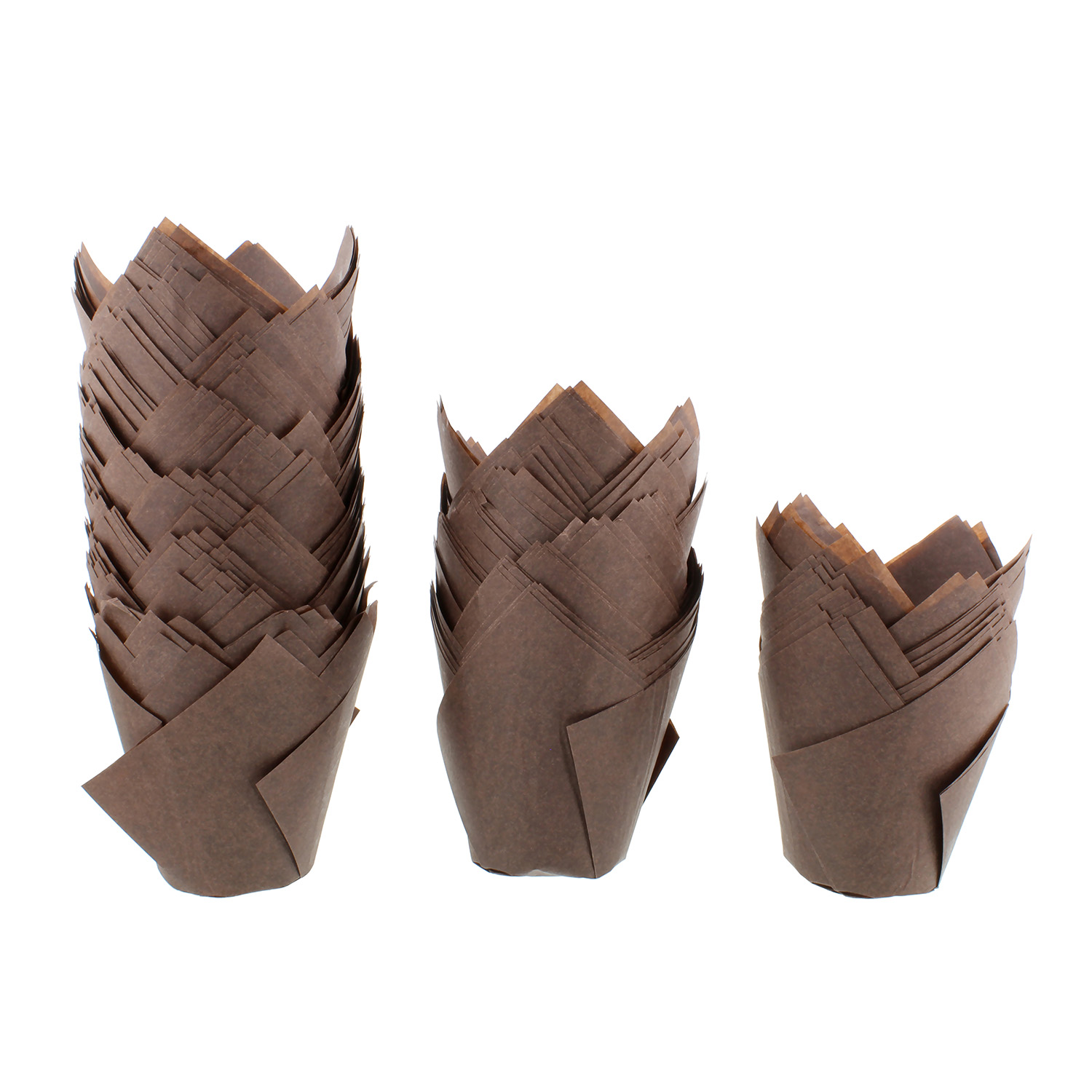 SpecialT | Tulip Cupcake Liners – 200 Ct Brown Tulip Style Muffin Cups Paper