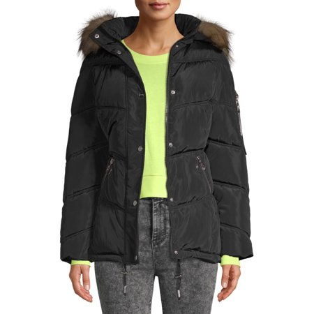 Kendall + Kylie Women's Long Puffer with Faux-Fur Hooded Detail