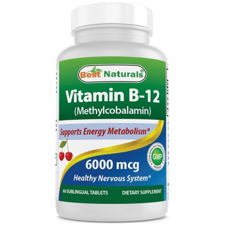 Best Naturals Vitamin B-12 as Methylcobalamin (Methyl B12), 6000 mcg 60 Sublingual