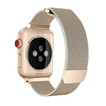 Apple Watch Band 38mm, Stainless Steel Mesh Milanese Loop with Adjustable Magnetic Closure with Clear Hard Case for Apple Watch Series 3 2 1 (38mm Gold) - image 3 de 4