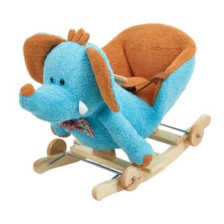 Child Rocking Horse Plush Blue Elephant Ride on Toy Seat Belt with Music