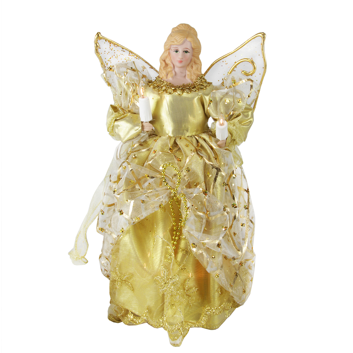 "10"" Lighted Gold Elegant Angel Christmas Tree Topper - Clear Lights"