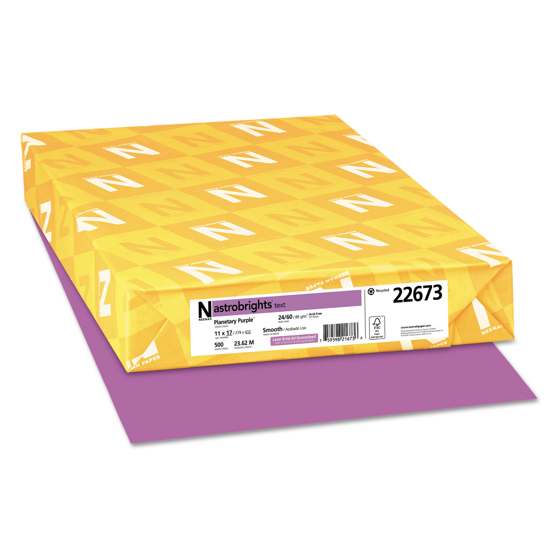 Astrobrights Color Paper, 24lb, 11 x 17, Planetary Purple, 500 Sheets