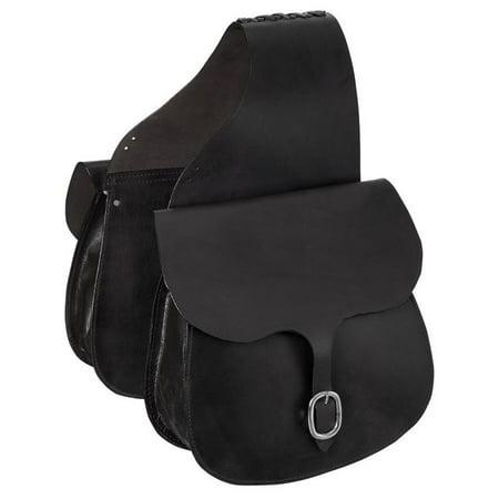 Black Titanium Saddle (Tough-1 Saddle Bag Large Premium Skirting Leather Black)