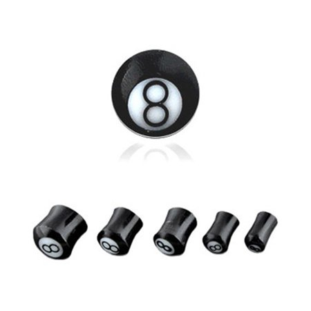 Pair Of Buffalo Horn 8 Ball Saddle Plugs,Gauge (Thickness):0 (8.0Mm)