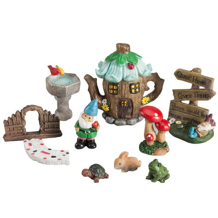 Fox Valley Traders Resin Fairy Garden Set of 10 ()