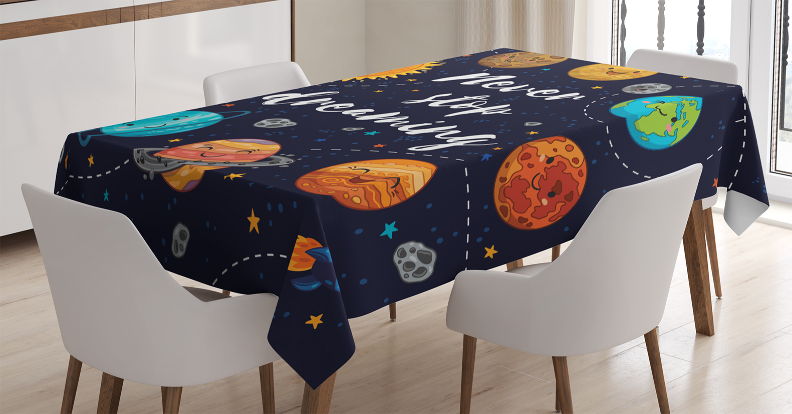 Quotes Decor Tablecloth, Cute Outer Space Planets And Star Cluster Solar  Moon And Comets Sun