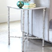 A Line Furniture Huntley Branch Style Silver Accent Table with Tempered Glass Top