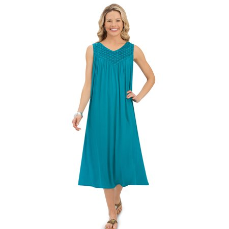 Women's Lace Trim Crinkled Sleeveless Rayon Summer Dress with V-Neckline, Large, - Turquoise Lace Dress