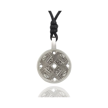 Vintage Classic Chinese I Ching Coin Silver Pewter Charm Necklace Pendant Jewelry With Cotton Cord