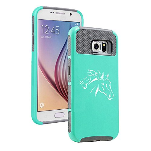 Samsung Galaxy S7 Shockproof Impact Hard Case Cover Horse Head (Teal-Grey ),MIP