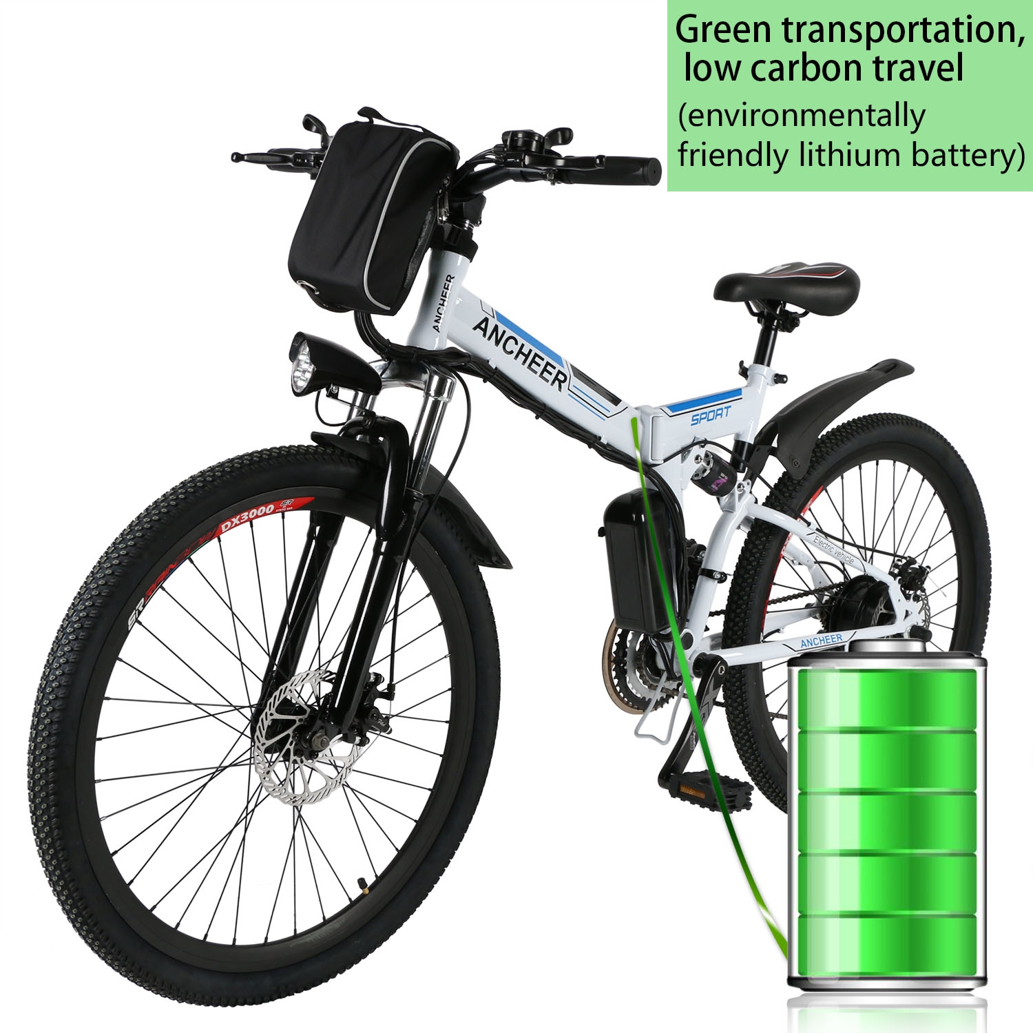 "Clearance! ANCHEER 26"" Foldable Mountain Bike Electric Power Bicycle Damping with Lithium-Ion Battery 36V"