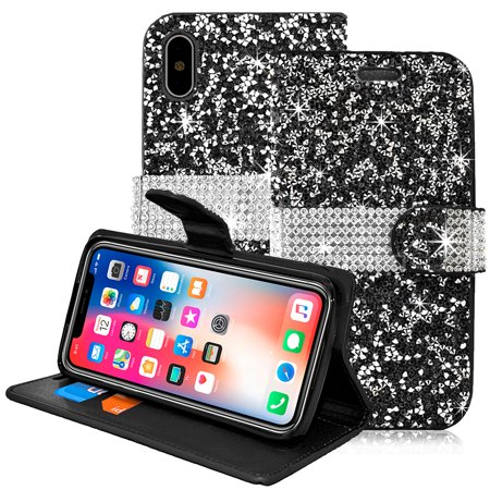 Apple IPhone X / 10 Wallet Case Fusicase Luxury 3D Handmade Shiny Crystal Bling Diamond Cover PU Leather With Credit Card Slot Flip Folio Magnetic
