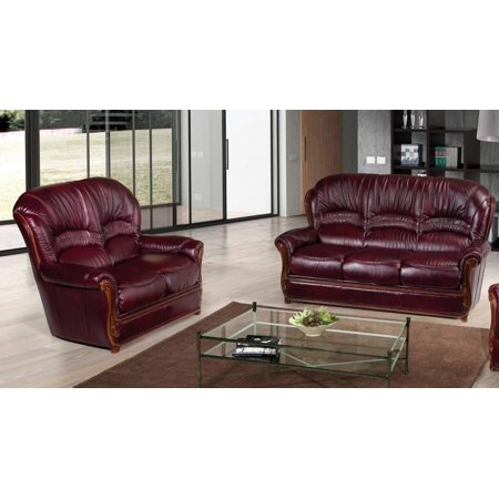 ESF Sara Modern Italian Leather Living Room Sofa Set 2 Pcs Burgundy  Traditional