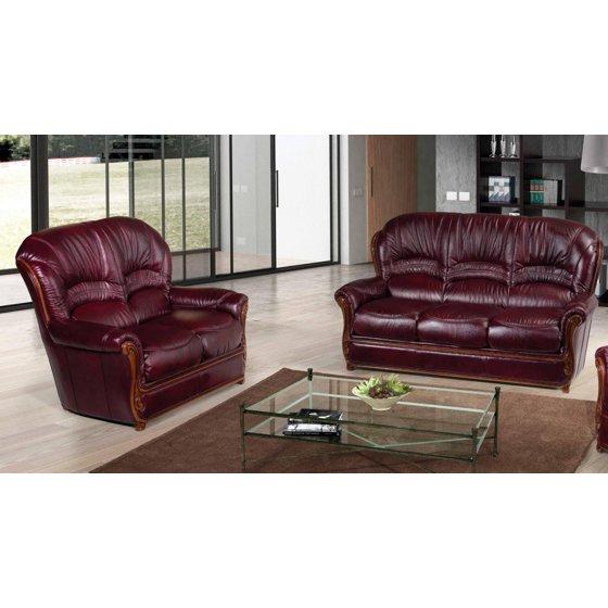 ESF Sara Modern Italian Leather Living Room Sofa Set 2 Pcs Burgundy  Traditional