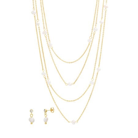 24k Layered - Pearl Triple Layered Necklace and Earring Set